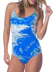 Polo Ralph Lauren Graphic Printed One Piece Swimsuit Blue