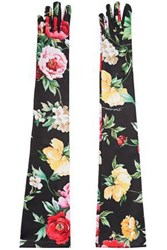 Dolce And Gabbana Woman Floral Print Stretch Jersey Gloves Black