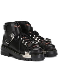 Versace Leather Ankle Boots Black