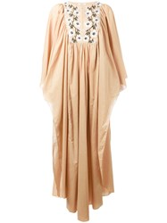 Daft Embroidered Kaftan Dress Nude Neutrals