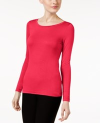 Cable And Gauge Long Sleeve Knit Top Jazzy Pink