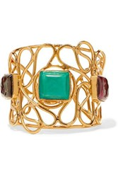 Loulou De La Falaise Mosaic Gold Plated Glass Cuff Turquoise