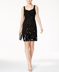 Adrianna Papell Beaded Sequined Cocktail Dress Black