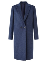 Jigsaw Melange Double Breasted Coat Blue