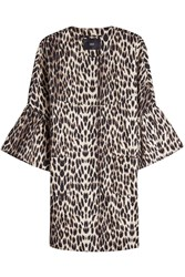 Steffen Schraut Leopard Print Coat With Cropped Sleeves Animal Print