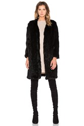 Arielle Rabbit Fur Long Coat Black