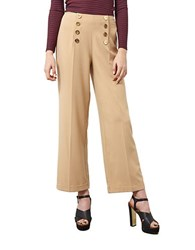 Miss Selfridge High Waist Button Trousers Taupe Beige