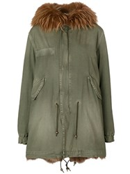 Mr And Mrs Italy Fur Trim Hooded Parka Cotton Lamb Skin Polyamide Racoon Fur Green