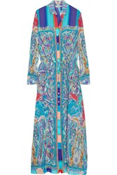 Etro Printed Crinkled Silk Chiffon Maxi Dress Blue