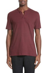 The Kooples Men's Flamme Jersey Henley Burgundy