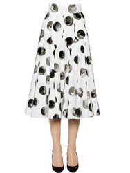 Dolce And Gabbana Polka Dot Cotton Poplin Midi Skirt