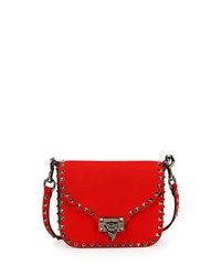 Valentino Rockstud Flap Top Leather Shoulder Bag Red