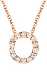 Bony Levy Women's Pave Diamond Initial Pendant Necklace Nordstrom Exclusive Rose Gold O