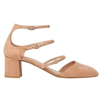 Whistles Montana Triple Strap Court Shoes Nude Suede