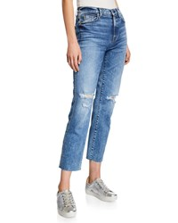 7 For All Mankind Edie Ripped High Rise Cropped Jeans Medium Blue