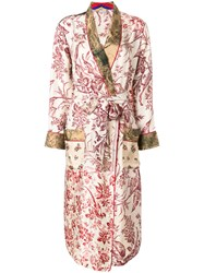 Pierre Louis Mascia Printed Belted Coat Multicolour