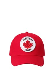 Dsquared Logo Patch Cotton Canvas Baseball Hat Red