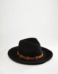 Asos Fedora With Faux Leather Band Black