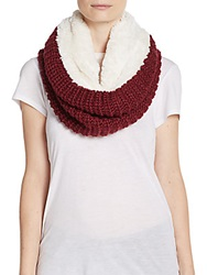 Modena Faux Fur Lined Knit Infinity Scarf Wine
