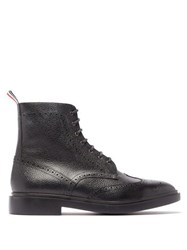 Thom Browne Wingtip Brogue Grained Leather Boots Black