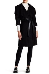 Mackage Draped Front Genuine Leather Trim Wool Blend Wrap Jacket Black