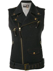 Jean Paul Gaultier Vintage Denim Effect Biker Gilet Blue