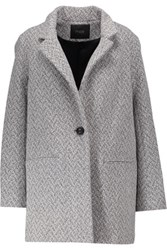 Maje Melange Wool Blend Jacket Gray