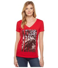 Cinch Short Sleeve V Neck Cotton Jersey Red Women's Clothing