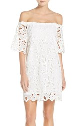 Yoana Baraschi Women's 'Peacock Garden' Off The Shoulder Lace Shift Dress