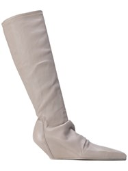 Rick Owens Fitted Wedge Boots Women Cotton Lamb Skin Leather Spandex Elastane 36 Grey