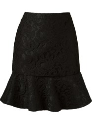 Martha Medeiros Ruffled Hem 'Marescot' Lace Skirt Black