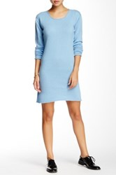 Portolano Scoop Neck Cashmere Sweater Dress Blue