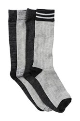 Lucky Brand Rib And Mark Crew Socks Pack Of 4 Gray