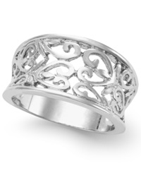 City By City Silver Tone Filigree Wide Band Ring