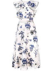 Lela Rose Floral Print Ruffle Dress White