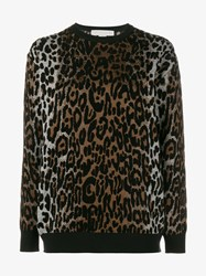 Stella Mccartney Wool Blend Cheetah Jacquard Sweater Brown Black Natural