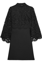 Valentino Cape Back Corded Lace And Wool And Silk Blend Mini Dress Black