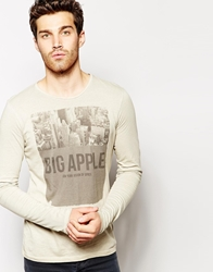 United Colors Of Benetton Long Sleeve Top With Big Apple Print Beige