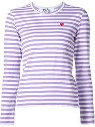Comme Des Gara Ons Play Striped Shirt Pink And Purple