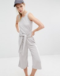 Daisy Street Jumpsuit In Rib With Tie Waist Grey Marl