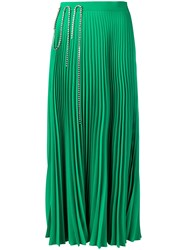Christopher Kane Squiggle Cupchain Pleated Skirt Green