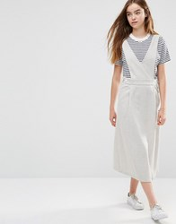 Shades Of Grey V Neck Pinafore Dress Light Herringbo Grey