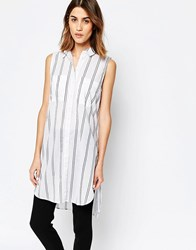Warehouse Sleeveless Stripe Longline Shirt White Stripe Multi