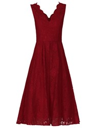 Jolie Moi Scalloped Lace Prom Dress Dark Red