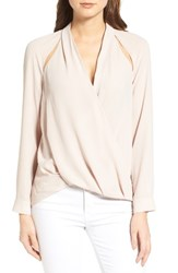 Trouve Women's Cutout Surplice Top Tan Memoir