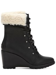 Sorel After Hours Shearling Lace Up Boots Black