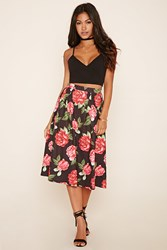 Forever 21 Pleated Floral Midi Skirt