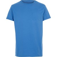 River Island Mens Blue Pocket Crew Neck T Shirt