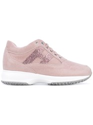 Hogan Embellished Sneakers Women Leather Pvc Canvas Rubber 37.5 Pink Purple