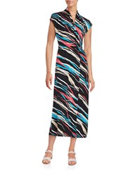 Kensie Striped Surplice Maxi Dress Black